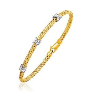 Jewelry - 14k Gold (4.0mm) Basket Weave Bracelet 7.25""
